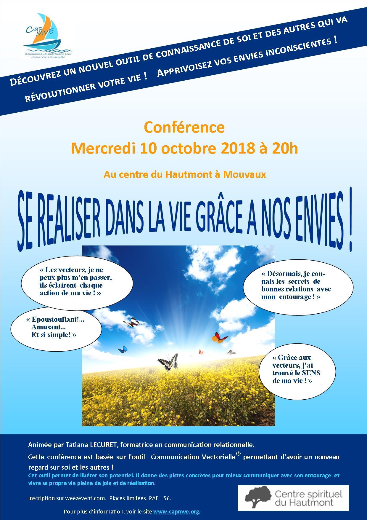 Conférence «Se réaliser dans la vie grâce à nos envies» – 10 octobre 2018